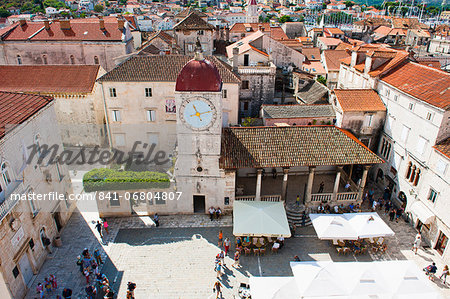 Loggia and St. Lawrence Square viewed from the Cathedral of St. Lawrence, Trogir, UNESCO World Heritage Site, Dalmatian Coast, Croatia, Europe Stock Photo - Rights-Managed, Image code: 841-06804807