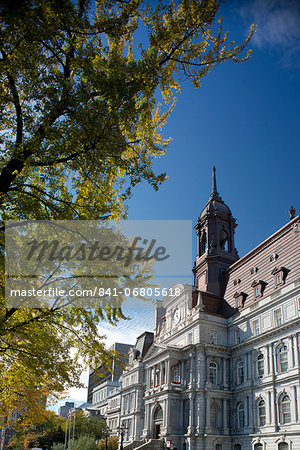 The Hotel de Ville surrounded by autumn foliage, Montreal, Quebec Province, Canada, North America Stock Photo - Rights-Managed, Image code: 841-06805618