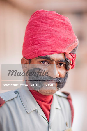 Man in red head dress, Jodhpur, Rajasthan, India, Asia Stock Photo - Rights-Managed, Image code: 841-06805968