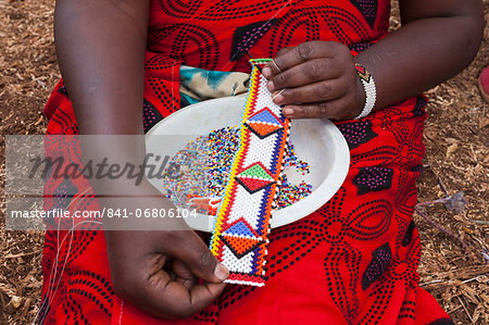 Maasai beadwork at the Predator Compensation Fund Pay Day, Mbirikani Group Ranch, Amboseli-Tsavo eco-system, Kenya, East Africa, Africa Stock Photo - Rights-Managed, Image code: 841-06806104