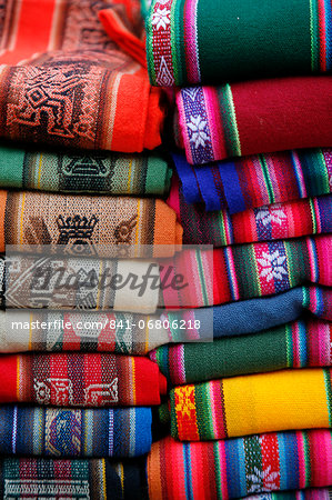 Local carpets made of llama and alpaca wool for sale at the market in Purmamarca, Quebrada de Humahuaca, Jujuy Province, Argentina, South America Stock Photo - Rights-Managed, Image code: 841-06806218