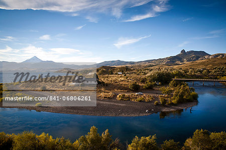 View over Lanin volcano and Lago Huechulafquen, Lanin National Park, Patagonia, Argentina, South America Stock Photo - Rights-Managed, Image code: 841-06806261