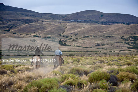 Gauchos riding horses, Patagonia, Argentina, South America Stock Photo - Rights-Managed, Image code: 841-06806266