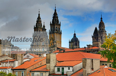 Cathedral spires in Old Town, Santiago de Compostela, UNESCO World Heritage Site, Galicia, Spain, Europe Stock Photo - Rights-Managed, Image code: 841-06806578