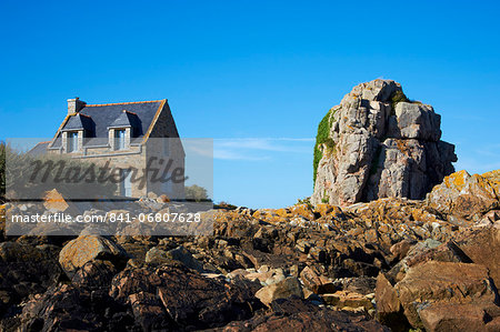 Pors Hir harbour, Cote de Granit Rose, Cotes d'Armor, Brittany, France, Europe Stock Photo - Rights-Managed, Image code: 841-06807628