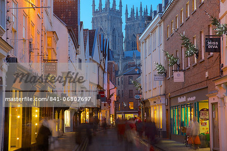 Colliergate and York Minster at Christmas, York, Yorkshire, England, United Kingdom, Europe Stock Photo - Rights-Managed, Image code: 841-06807697