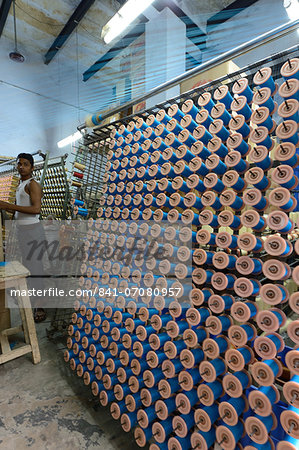 Silk threads in the looms, Varanasi, Uttar Pradesh, India, Asia Stock Photo - Rights-Managed, Image code: 841-07080957
