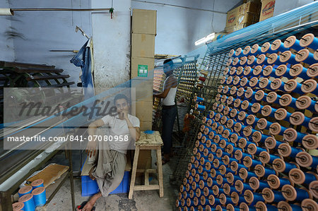 In the silk thread manufacturing factory, Vararnasi, Uttar Pradesh, India, Asia Stock Photo - Rights-Managed, Image code: 841-07080958