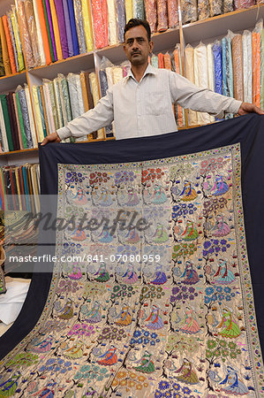 Art work on silk, Indian handicrafts for sale, Varanasi, Uttar Pradesh, India, Asia Stock Photo - Rights-Managed, Image code: 841-07080959
