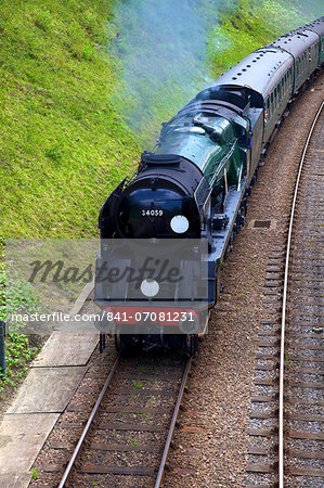 Steam train on Bluebell Railway, Horsted Keynes, West Sussex, England, United Kingdom, Europe Stock Photo - Rights-Managed, Image code: 841-07081231