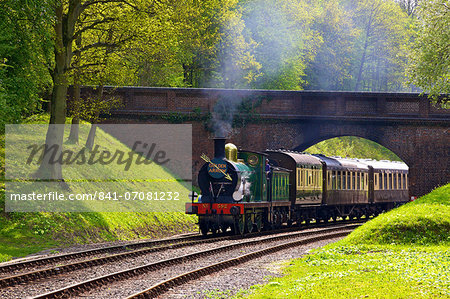 Steam train on Bluebell Railway, Horsted Keynes, West Sussex, England, United Kingdom, Europe Stock Photo - Rights-Managed, Image code: 841-07081232