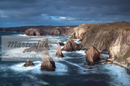 Rugged coastline being pounded by waves on the West coast of Lewis at Mangersta, Isle of Lewis, Outer Hebrides, Scotland, United Kingdom, Europe Stock Photo - Rights-Managed, Image code: 841-07081844