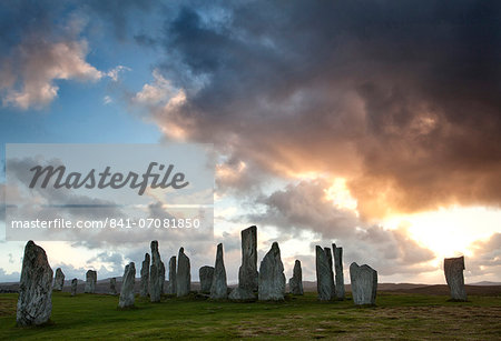 Standing Stones of Callanish at sunset with dramatic sky in the background, near Carloway, Isle of Lewis, Outer Hebrides, Scotland, United Kingdom, Europe Stock Photo - Rights-Managed, Image code: 841-07081850