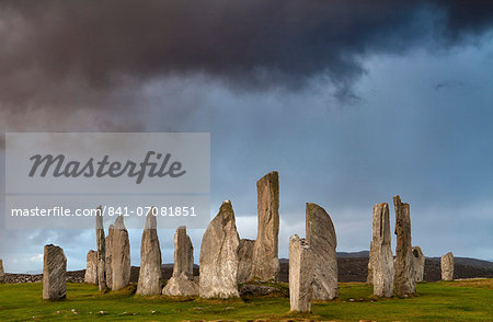 Standing Stones of Callanish, near Carloway, Isle of Lewis, Outer Hebrides, Scotland, United Kingdom, Europe Stock Photo - Rights-Managed, Image code: 841-07081851