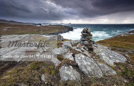 Dramatic rocky coastline above Gearrannan Blackhouse Village, near Carloway, Isle of Lewis, Outer Hebrides, Scotland, United Kingdom, Europe Stock Photo - Rights-Managed, Image code: 841-07081853