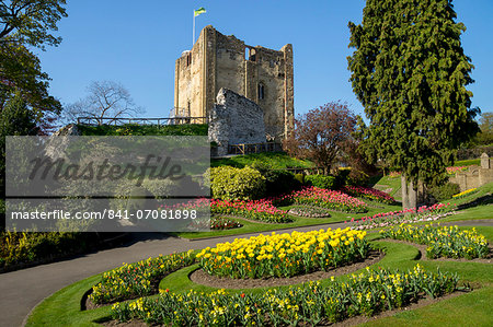 Spring flowers in ornamental beds decorate Guildford Castle, Guildford, Surrey, England, United Kingdom, Europe Stock Photo - Rights-Managed, Image code: 841-07081898