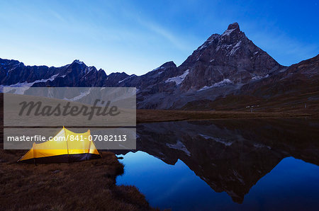 Monte Cervino (The Matterhorn), Breuil Cervinia, Aosta Valley, Italian Alps, Italy, Europe Stock Photo - Rights-Managed, Image code: 841-07082113