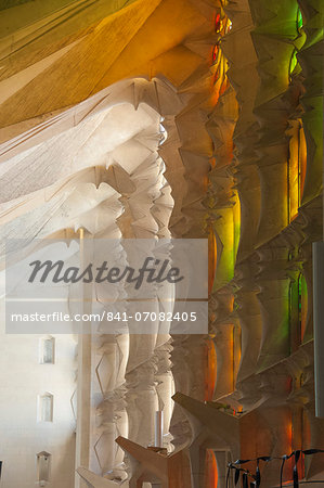 Sunlight through stained glass, Sagrada Familia, Barcelona, Catalunya, Spain, Europe Stock Photo - Rights-Managed, Image code: 841-07082405
