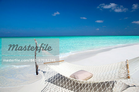 Hammock on tropical beach, Maldives, Indian Ocean, Asia Stock Photo - Rights-Managed, Image code: 841-07082745