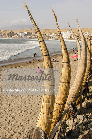 Caballitos de totora or reed boats on the beach in Huanchaco, Peru, South America Stock Photo - Rights-Managed, Image code: 841-07082851