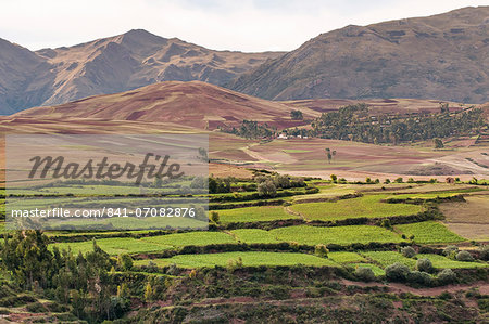 Landscape above the Sacred Valley near Maras, Peru, South America Stock Photo - Rights-Managed, Image code: 841-07082876