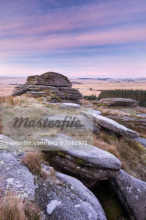 Frosty morning at Bellever Tor, Dartmoor National Park, Devon, England, United Kingdom, Europe Stock Photo - Rights-Managed, Image code: 841-07082971