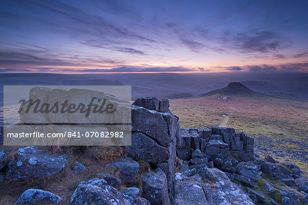 View towards Leather Tor from Sharpitor at dawn in winter, Dartmoor National Park, Devon, England, United Kingdom, Europe Stock Photo - Rights-Managed, Image code: 841-07082982