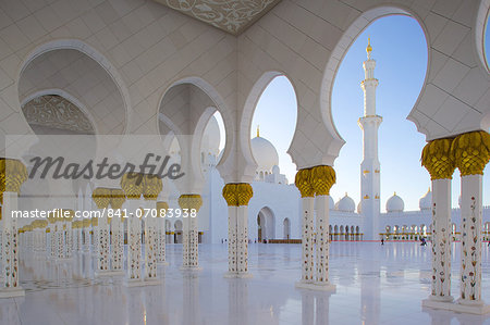Sheikh Zayed Bin Sultan Al Nahyan Mosque, Abu Dhabi, United Arab Emirates, Middle East Stock Photo - Rights-Managed, Image code: 841-07083938