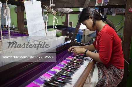 Silk weaving workshop, Mandalay, Myanmar (Burma), Asia Stock Photo - Rights-Managed, Image code: 841-07202553