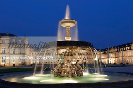 Neues Schloss castle and fountain at Schlossplatz Square, Stuttgart, Baden Wurttemberg, Germany, Europe Stock Photo - Rights-Managed, Image code: 841-07204779