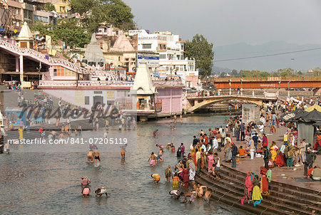 Temple at Har-ki-Pairi, on bank of River Ganges, Haridwar, Uttarakhand, India, Asia Stock Photo - Rights-Managed, Image code: 841-07205119