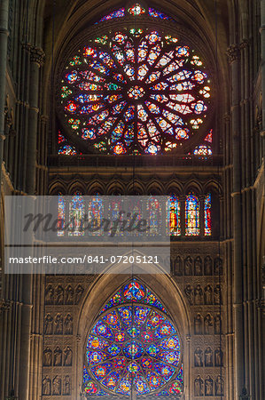 Cathedral west windows, Rheims, UNESCO World Heritage Site, Marne, France, Europe Stock Photo - Rights-Managed, Image code: 841-07205121