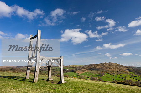 Modern oak wooden sculpture by artist Henry Bruce entitled The Giants Chair at Natsworthy in Dartmoor National Park, Devon, England, United Kingdom, Europe Stock Photo - Rights-Managed, Image code: 841-07205745
