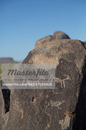 Petroglyphs, created by the prehistoric Hohokam people, about 1000 years ago, West-Tucson Mountain District, Saguaro National Park, Arizona, United States of America, North America Stock Photo - Rights-Managed, Image code: 841-07205826