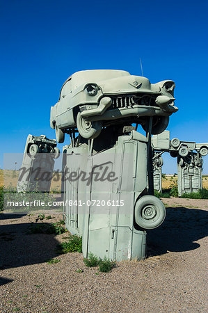 Carhenge, a replica of England's Stonehenge, made out of cars near Alliance, Nebraska, United States of America, North America Stock Photo - Rights-Managed, Image code: 841-07206115