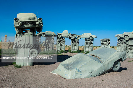 Carhenge, a replica of England's Stonehenge, made out of cars near Alliance, Nebraska, United States of America, North America Stock Photo - Rights-Managed, Image code: 841-07206117