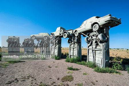 Carhenge, a replica of England's Stonehenge, made out of cars near Alliance, Nebraska, United States of America, North America Stock Photo - Rights-Managed, Image code: 841-07206118