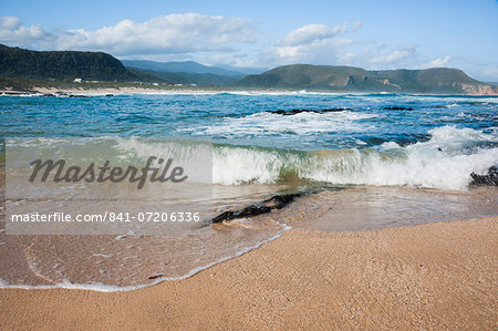 Waves crashing ashore at Nature Valley Beach, Indian Ocean, Crags, Garden Route, South Africa, Africa Stock Photo - Rights-Managed, Image code: 841-07206336
