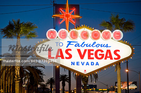 Las Vegas Sign at night, Nevada, United States of America, North America Stock Photo - Rights-Managed, Image code: 841-07206456