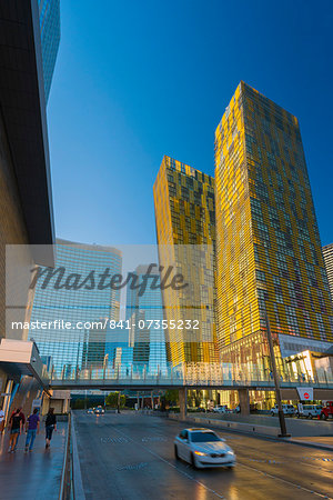 CityCenter, Aria Resort and Casino, Veer Towers on right, The Strip, Las Vegas, Nevada, United States of America, North America Stock Photo - Rights-Managed, Image code: 841-07355232