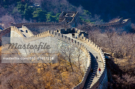The ancient Great Wall of China snaking through mountains at Mutianyu, north of Beijing (formerly Peking) Stock Photo - Rights-Managed, Image code: 841-07457214