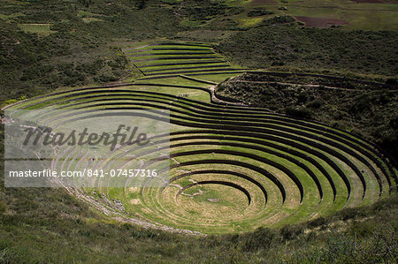 Inca agricultural research station, Moray, Peru, South America Stock Photo - Rights-Managed, Image code: 841-07457316