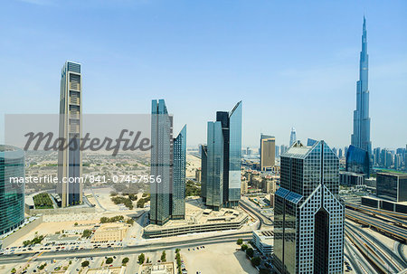 Burj Khalifa and city skyline, Dubai, United Arab Emirates, Middle East Stock Photo - Rights-Managed, Image code: 841-07457556