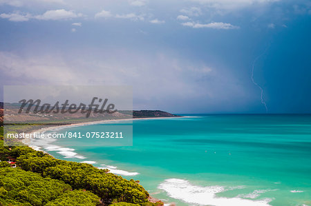 Thunder and lightning storm over Capo Bianco Beach and the Mediterranean Sea in the Province of Agrigento, Sicily, Italy, Europe Stock Photo - Rights-Managed, Image code: 841-07523211