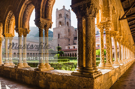 Duomo di Monreale at sunset (Monreale Cathedral), courtyard gardens, Monreale, near Palermo, Sicily, Italy, Europe Stock Photo - Rights-Managed, Image code: 841-07523225