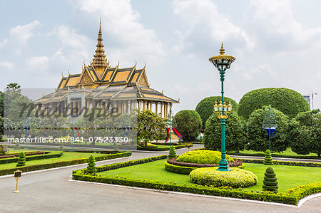 The Moonlight Pavilion, Royal Palace, in the capital city of Phnom Penh, Cambodia, Indochina, Southeast Asia, Asia Stock Photo - Rights-Managed, Image code: 841-07523330