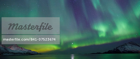 Aurora Borealis spectacular Northern Lights green and purple curtain effect and Venus star at Grotfjord, Kvaloya island, Tromso, Arctic Circle, Northern Norway Stock Photo - Rights-Managed, Image code: 841-07523674