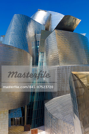 Architect Frank Gehry's Guggenheim Museum futuristic architectural design in titanium and glass at Bilbao, Basque country, Spain Stock Photo - Rights-Managed, Image code: 841-07523720