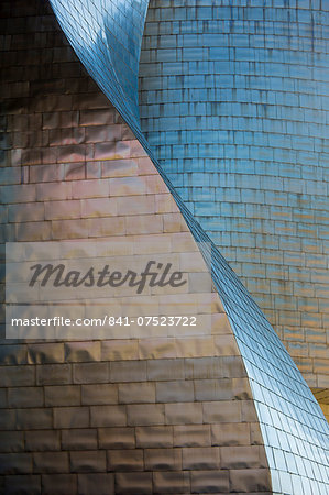 Architect Frank Gehry's Guggenheim Museum futuristic architectural design in titanium and glass at Bilbao, Basque country, Spain Stock Photo - Rights-Managed, Image code: 841-07523722
