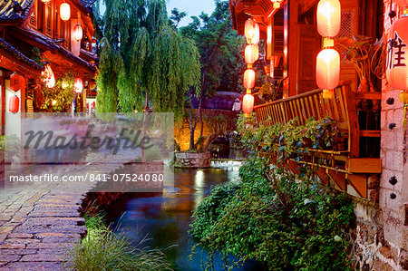 Early evening street scene in the Old Town, Lijiang, UNESCO World Heritage Site, Yunnan Province, China, Asia Stock Photo - Rights-Managed, Image code: 841-07524080